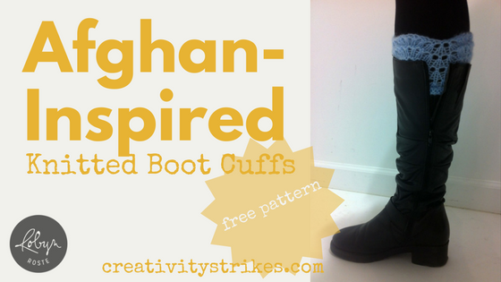 Afghan-Inspired Knitted Boot Cuffs [free pattern]